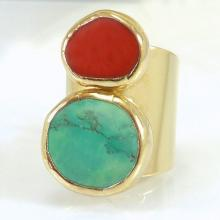 Turquoise Jewelry, Statement Turquoise Ring, December Birthstone, Gemstone Ring, Boho chic Ring, Coral and Turquoise Unique Gold ring