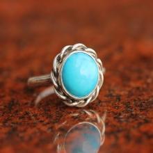 Turquoise Ring - statement ring - Bezel set ring - Artisan Ring - Gemstone Ring - round ring - handmade Gift for her