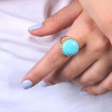 Turquoise Ring Gold Turquoise Gemstone Ring Statement Stone Jewelry Stackable Ring Solitaire Turquoise