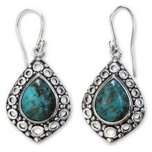 Turquoise Sterling Silver Dangle Earrings, 'Balinese Lake'
