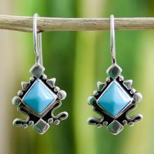 Turquoise drop earrings, 'Sky Eye'