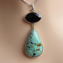 Turquoise pendant - Bezel pendant - Turquoise black onyx pendant - Drop pendant - Gemstone silver pendant