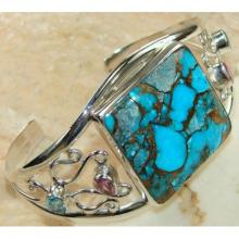 Turquoise, Blue Topaz, Pink Topaz Faceted Bangle 925 Sterling Silver