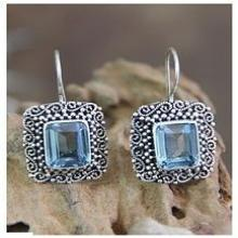 Unique Indonesian Blue Topaz and Silver Earrings, 'Java Skies' 2