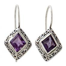 Unique Sterling Silver and Amethyst Drop Earrings, 'Ubud Goddess'