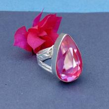 VINTAGE Pink FIRE TOPAZ Ring -Size 9 Ring - 925 Sterling Silver Ring - Topaz hydro stone Ring