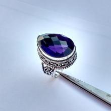 Vintage AMETHYST Ring - Size 7.5 - 8.0 Ring - 925 Sterling Silver Ring - AMETHYST hydro Silver Ring
