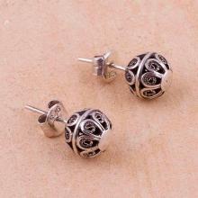 Silver Filigree Stud Earrings