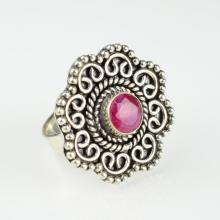 Vintage Style Flower Ruby Gemstone Ring Size 6.25 M Boho Gypsy Ring Buddha Ohm ring ganesh ring buddha ring tibetan jewelry
