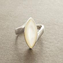 White MOP Ring - Gemstone Ring - 925 - Genuine Mother of Pearl - Almond shape - Modern Design - Sterling Silver Ring - Handmade.