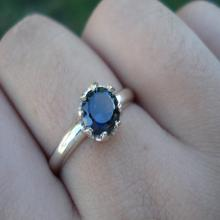White gold palladium sapphire ring, blue sapphire engagement ring, natural blue sapphrie gem, alternative engagement, ethical conflict free