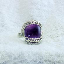 Wire Wrap Ring Purple Amethyst 925 Sterling Silver Handmade Valley Gemstone Jewelry