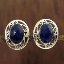 Women's Earrings Sterling Silver and Lapis Lazuli Jewelry, 'Seductive Blue'