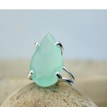 aqua gemstone ring,teardrop ring,silver stone ring,pear shape ring,semiprecious rings,cocktail ring