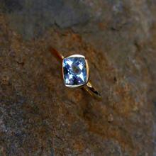 blue topaz 14K Gold, Made to Order, White, Yellow, and Rose Gold, low profile, non traditional, engagement ring