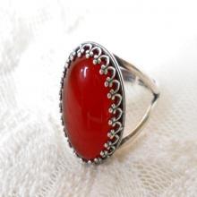 carnelian gemstone ring silver boho ring cabochon ring adjustable ring bohemian ring carnelian gemstone ring