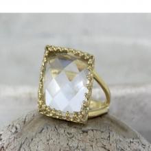 crystal quartz ring,reflective ring,gold ring,square ring,bridesmaid rings,mom gifts,love ring,gemstone ring