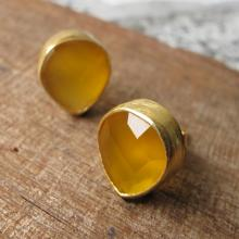 ellow Stone Earrings-Stone Studs- Silver Topaz Post Earrings- Yellow Quartz Earrings- Citrine Earrings