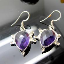 fashionable Amethyst Earrings, Sterling Silver Earrings, Gemstone Earrings