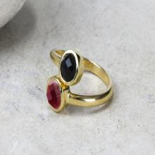 gold filled ring,gemstone ring,multistone rings,black onyx ruby ring,double stone ring,bezel rings,gold ring