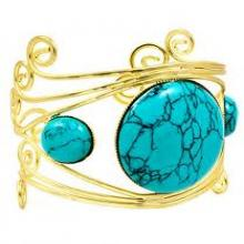 gold plated turquoise cuff bangle