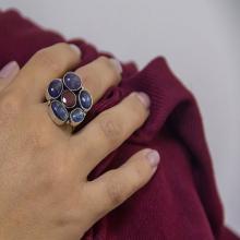 kyanite & Garnet Gemstone ring - Blue flower Tanzanite Ring - silver and gemstone ring - statement ring - gift idea
