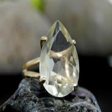 lemon quartz ring,gemstone ring,vintage ring,teardrop ring,pear ring,bridal ring,gold ring,gold filled ring