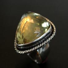 lemon quartz statement ring - party ring - extra large gemstone ring - modern cocktail ring - plus size statement ring