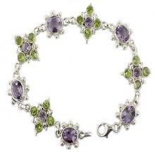 multi semi precious stone sterling silver bracelet