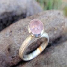 natural rose quartz ring - gemstone ring - 7mm rose quartz ring in sterling silver - stacking ring or solitaire
