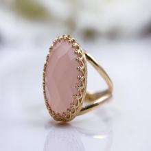 pink chalcedony ring,pink gold ring,gemstone ring,semiprecious rings,vintage ring,feminine ring,gold filled ring