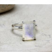 rainbow moonstone ring,sterling silver ring,gemstone ring,prong setting ring,stack cocktail ring,square stone ring