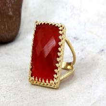 red onyx ring,statement ring,large cocktail ring,gold wide ring,large gemstone ring,red faceted ring,double band rin