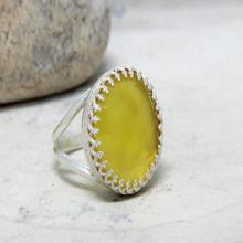 silver ring,chalcedony ring,double band ring,silver gemstone ring,yellow ring,round ring,vintage ring