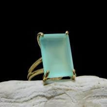 square gemstone ring,square ring,square jewelry,square prong ring,chalcedony ring,gold ring