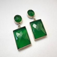 statement earrings - Faceted earrings - Green Onyx earrings - Rectangle earrings - Bezel earrings
